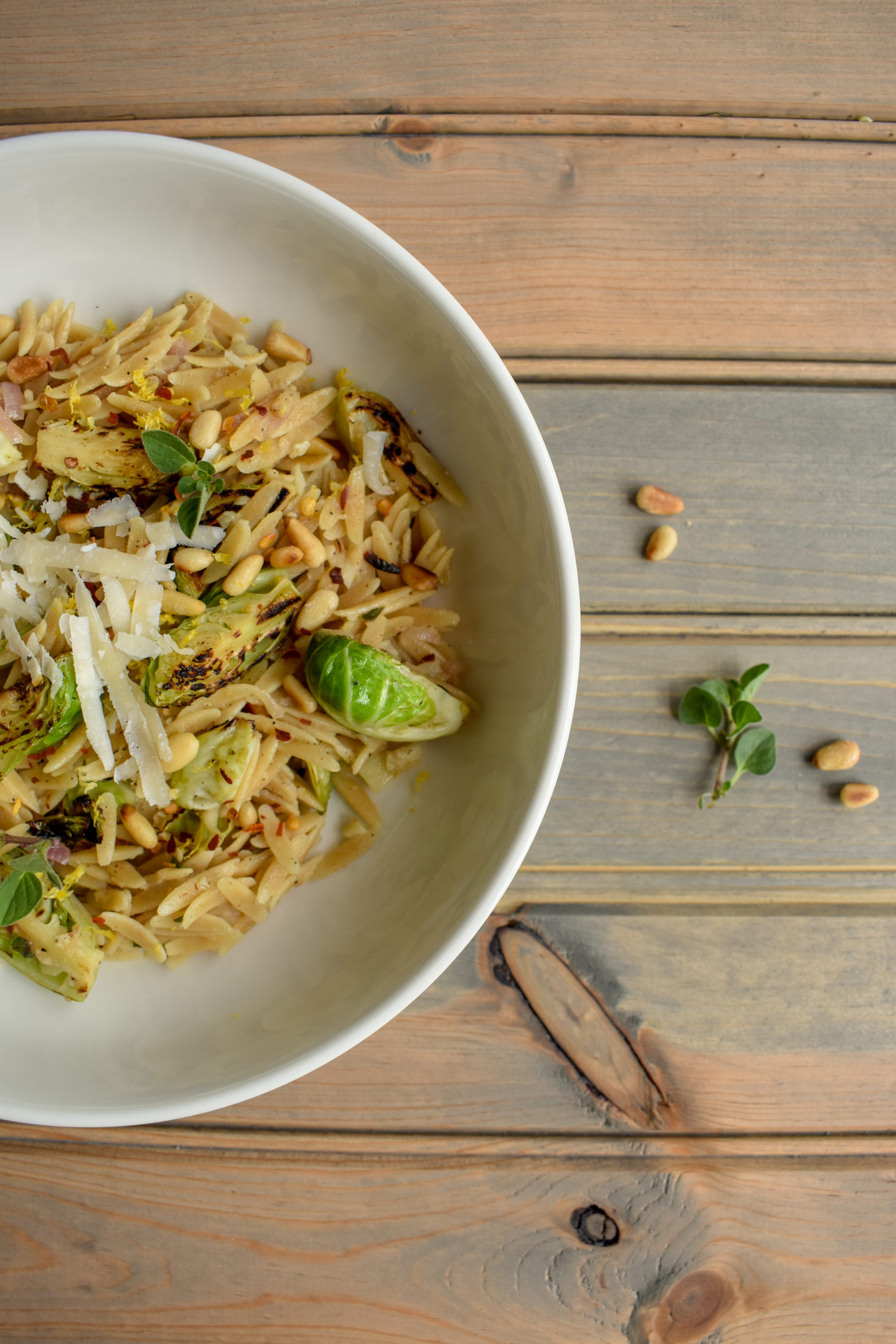 Orzo and Charred Brussels Sprouts in White Wine