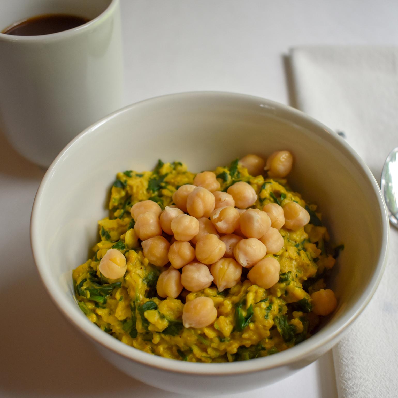 Savory Turmeric Oatmeal using Diaspora Co. Turmeric