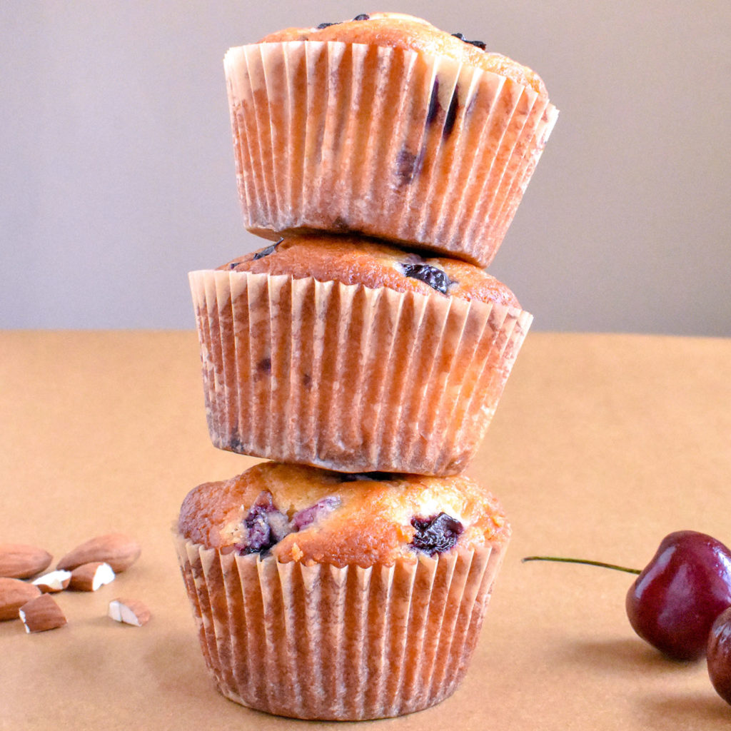 Stacked cherry almond muffins