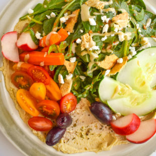 Hummus for Dinner. Plate with hummus and veggies.