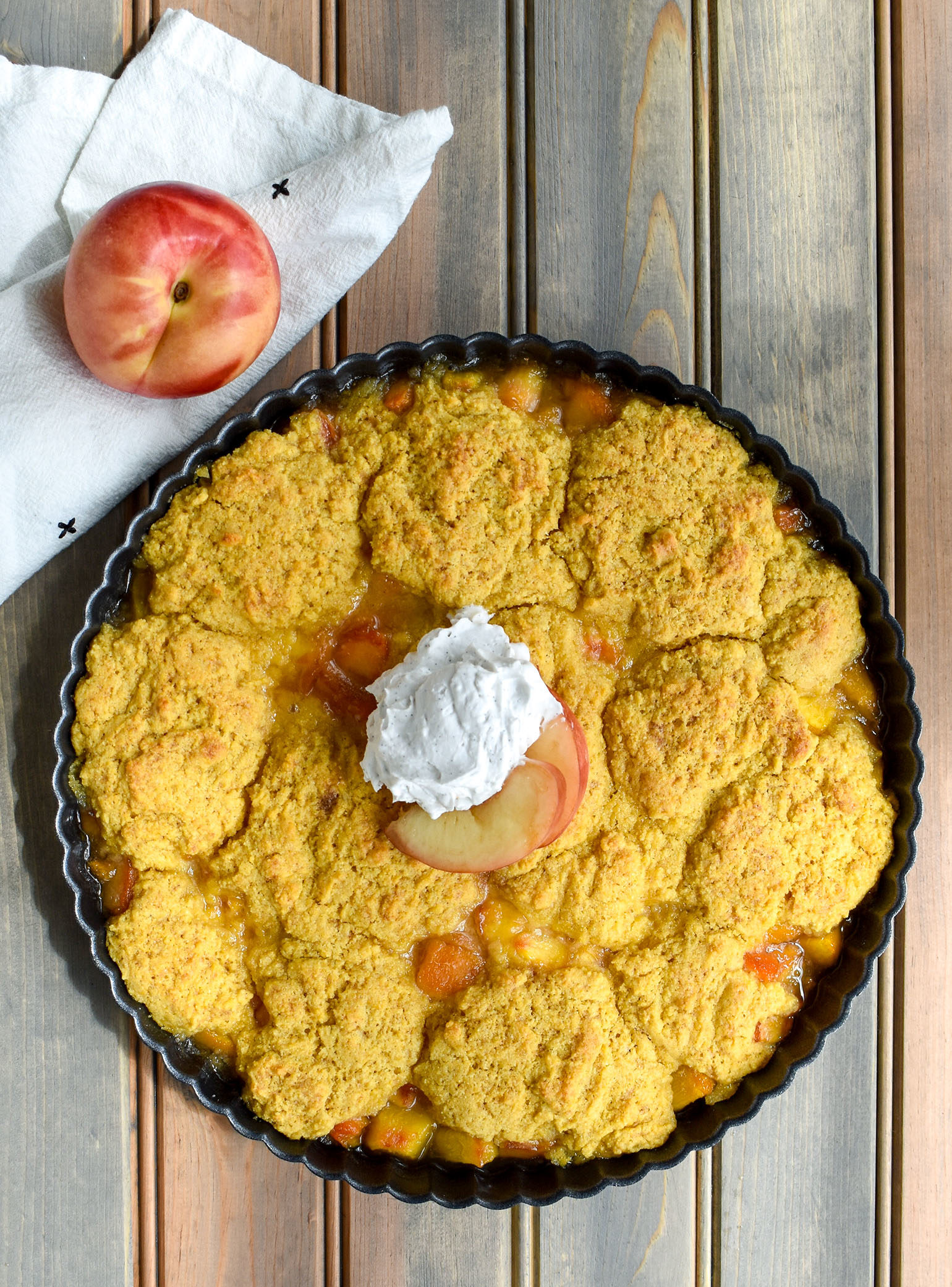Peach Cobbler with Coconut Whipped Cream