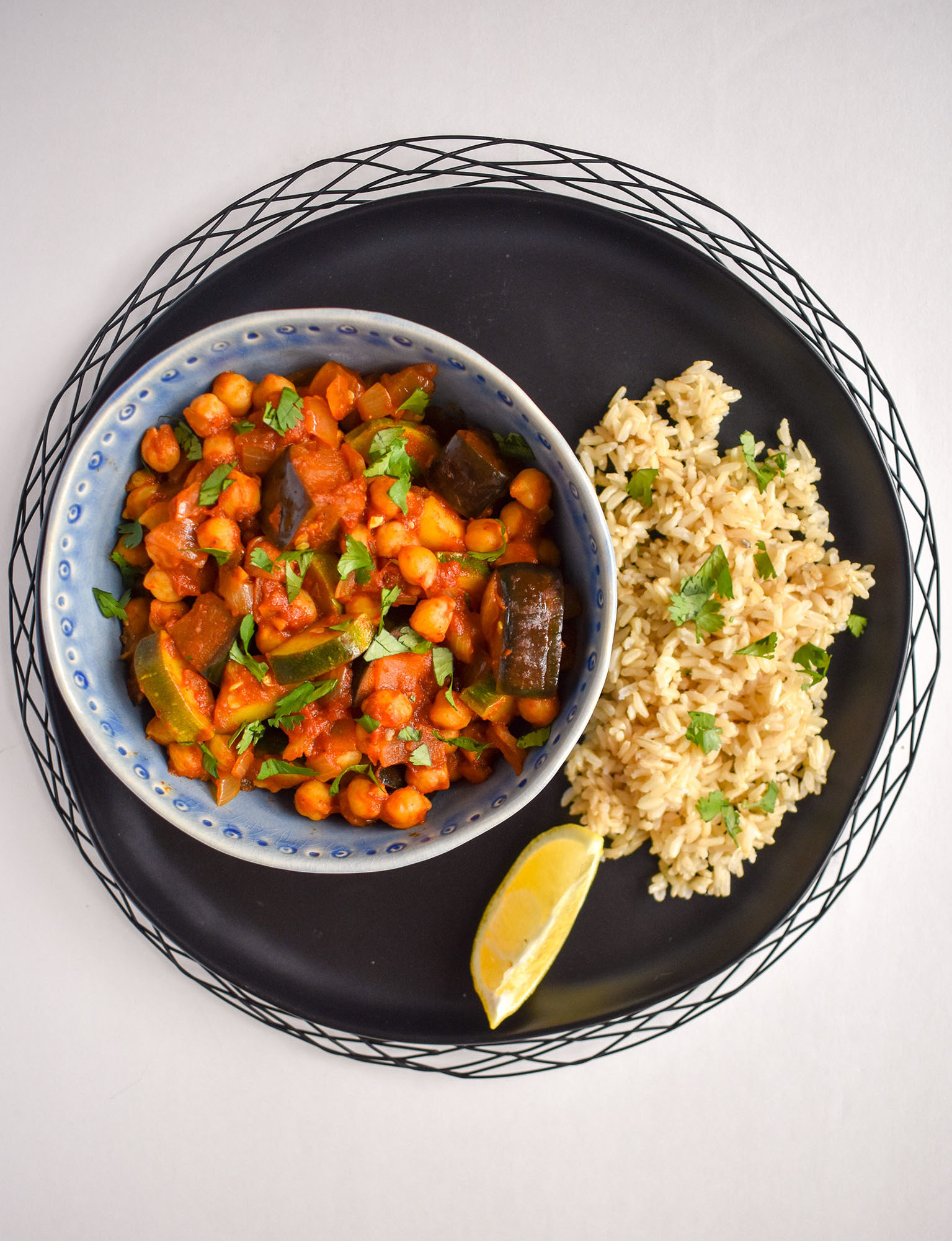 Chana masala with eggplant and zucchini and a side of rice- 3 summer ingredients and 3 meals.