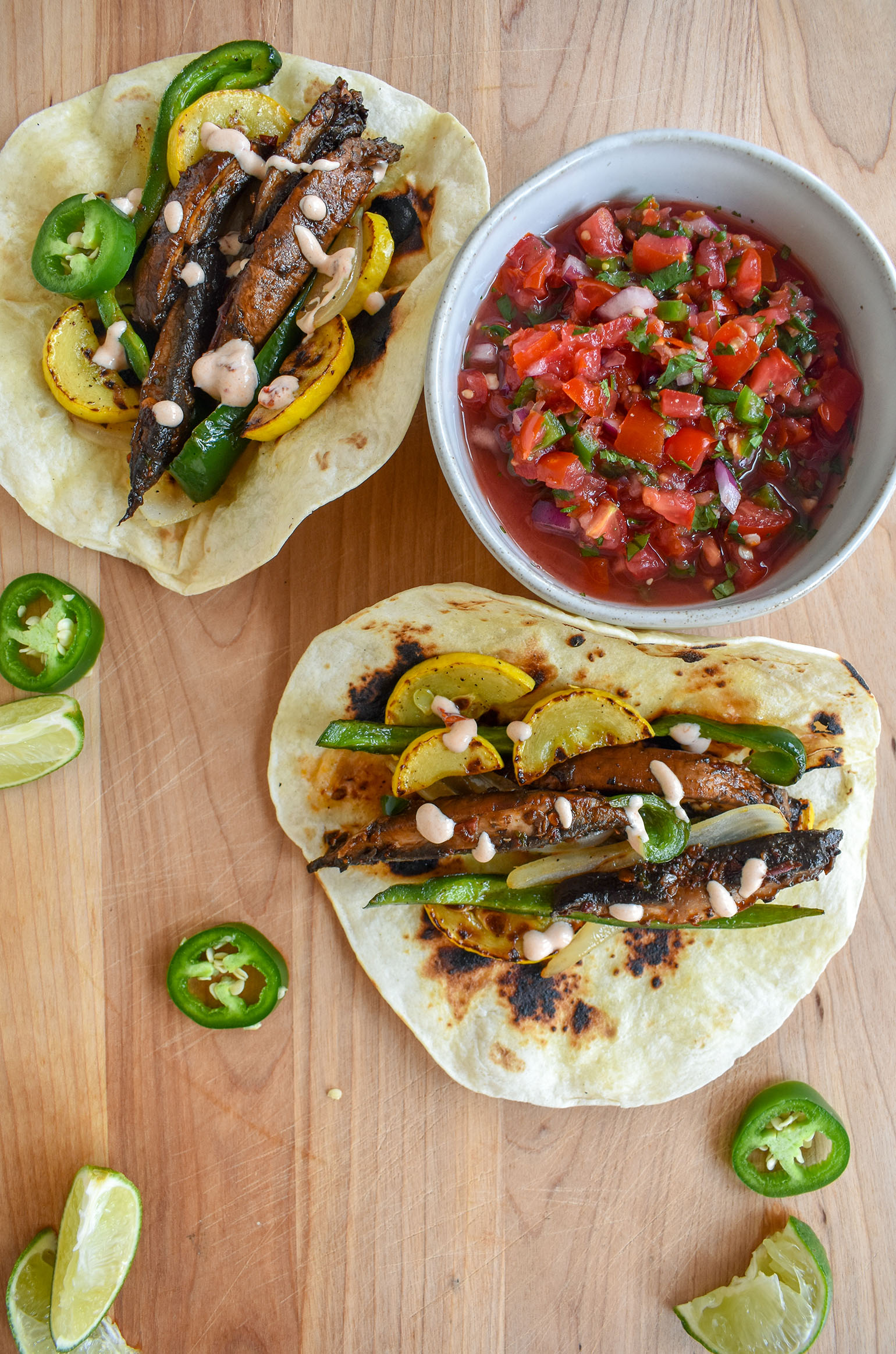 Chipotle Portobello Mushroom Fajitas and Homemade Tomato Salsa