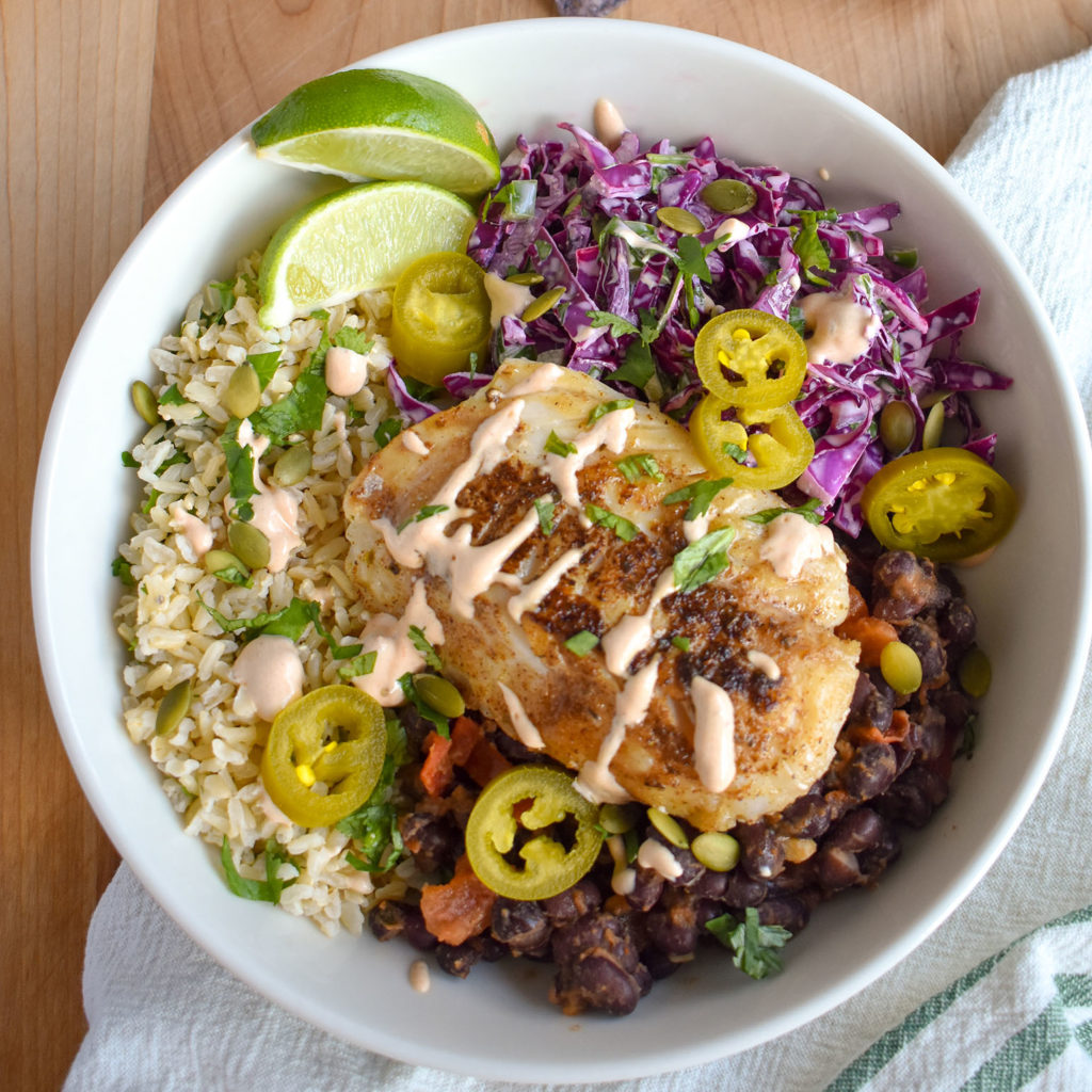 Fish taco bowls with slaw