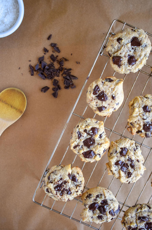 Tahini Chocolate Cookies on Cooling Rack