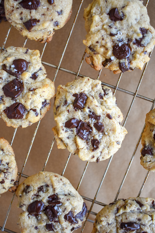 Tahini Chocolate Chunk Cookies on Cooling Rack