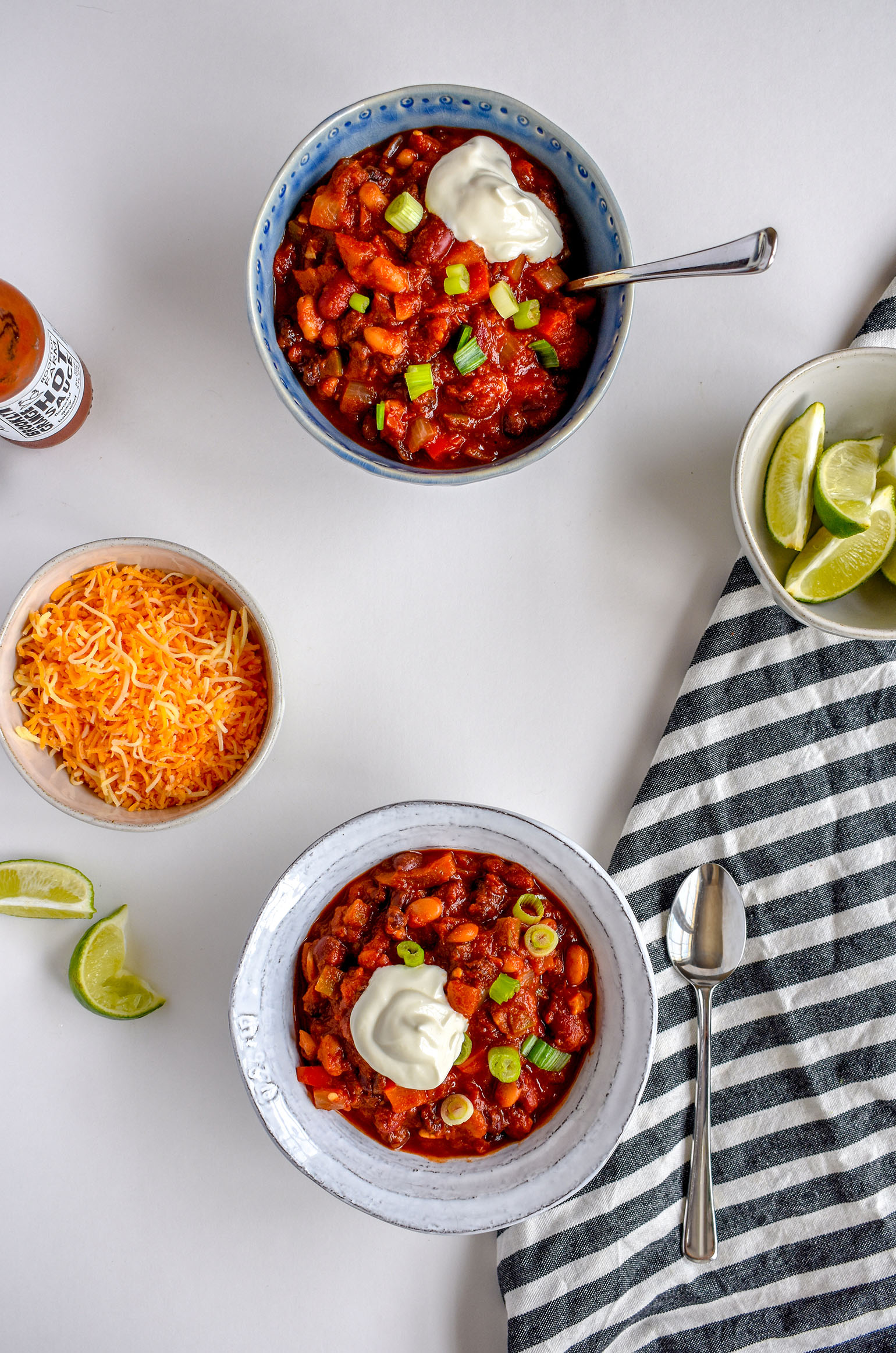 2 bowls of 3 Bean Simple Veggie Chili with Sides