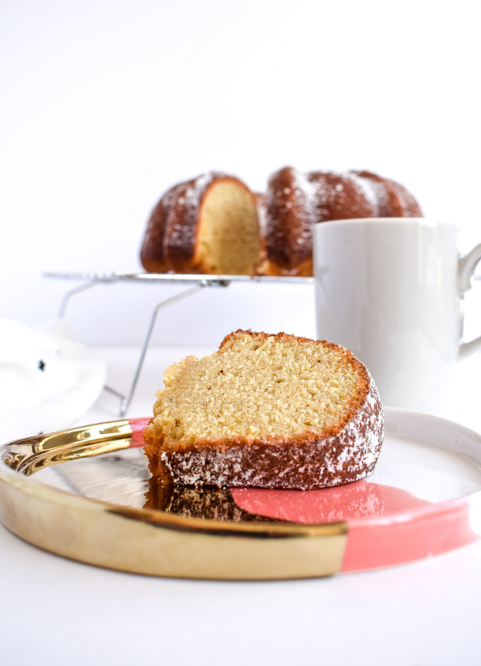 Spiced Chai Bundt Cake Slice on Plate