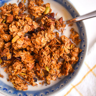 Crunchy honey almond granola in bowl