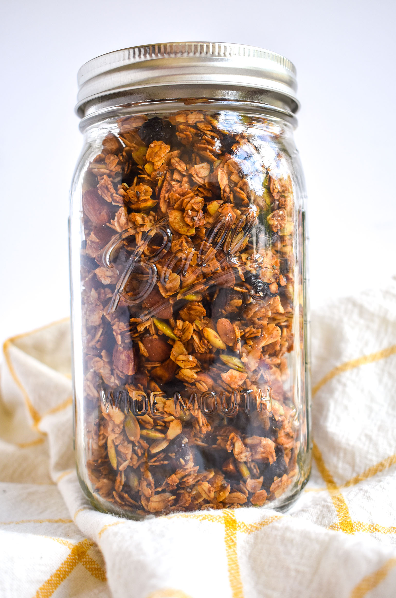 Crunchy honey almond granola in jar