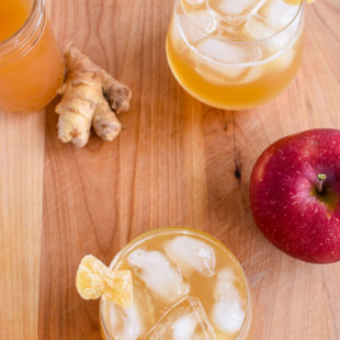 2 glasses of honey ginger cider bourbon cocktail