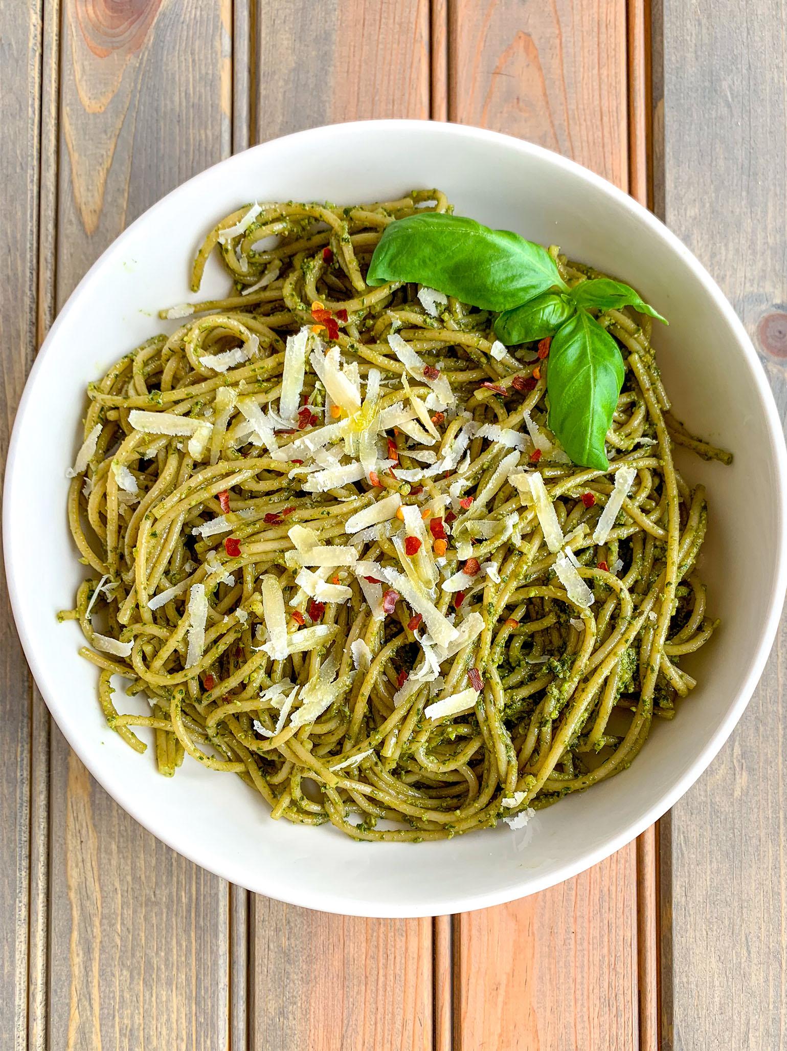 Classic basil pesto recipe with pasta
